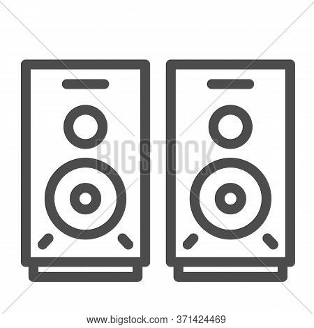 Speakers Line Icon, Media Concept, Audio Speaker Sign On White Background, Stereo Speakers Icon In O