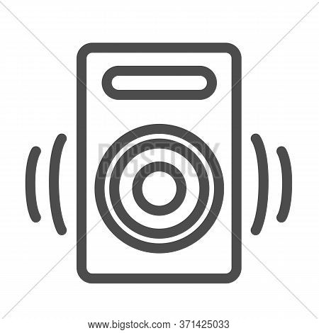 Speaker Line Icon, Media Concept, Audio Speaker Sign On White Background, Sound From Speaker Icon In
