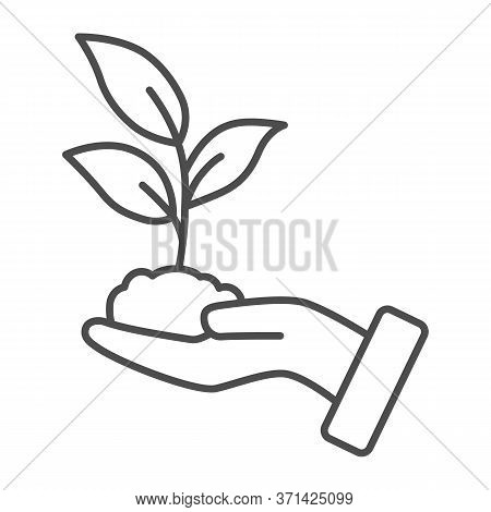 Sprout In Hand Thin Line Icon, Care Nature Concept, Hand And Seedling In Soil Sign On White Backgrou