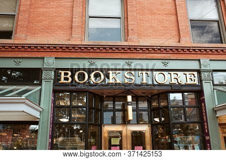 Boulder, Colorado - May 27th, 2020:  Entrance To Boulder Bookstore On Pearl Street Mall In Boulder C
