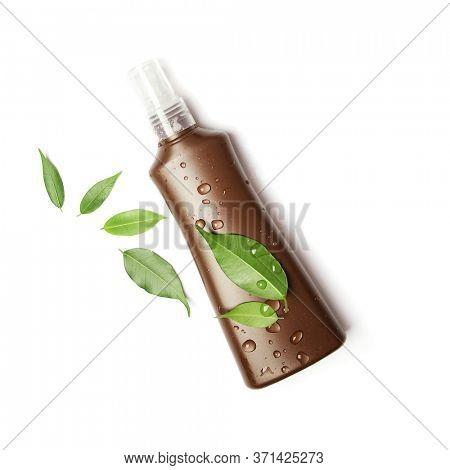 suntan cream bottle on white background