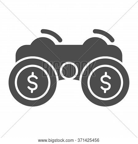 Financial Solutions Binoculars Solid Icon, Business Strategy Concept, Investment Decisions Sign On W