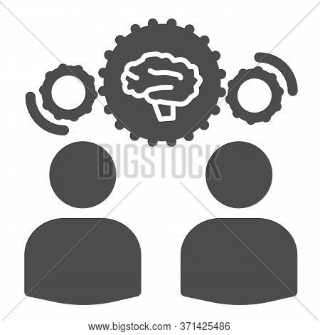 Two Men Share Knowledge Solid Icon, Business Concept, Knowledge Or Ideas Sharing Between Two People