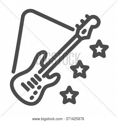 Guitar Line Icon, Music Festival Concept, Electric Guitar Sign On White Background, Guitar With Star