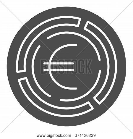 Labyrinth With Euro Coin Solid Icon, Investment Decisions Concept, Labyrinth Chart Sign On White Bac