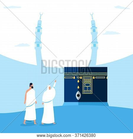 Hajj Pilgrims Characters In Front Of  Kaaba. Suitable For Info Graphic.