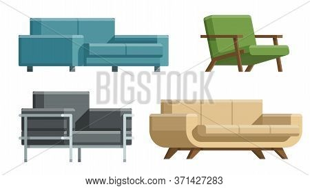 Sofa And Bed, Home Accessories. Furniture Design. Furniture Decorative Set. Comfortable Sofa. Luxury