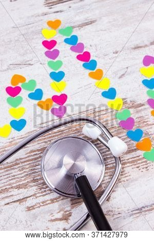 Electrocardiogram Line Of Colorful Paper Hearts And Medical Stethoscope, Ecg Heart Rhythm, Medicine