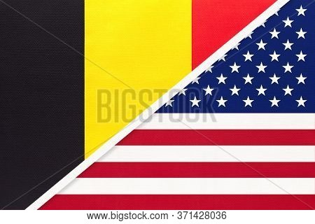 Belgium And United States Of America Or Usa, Symbol Of Two National Flags From Textile. Relationship