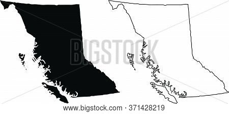 British Columbia Bc Province And Territory Of Canada. Black Illustration And Outline. Isolated On A