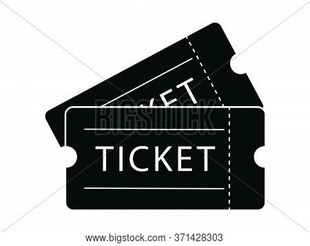 Double Ticket Admission. Black Illustration Isolated On A White Background. Eps Vector