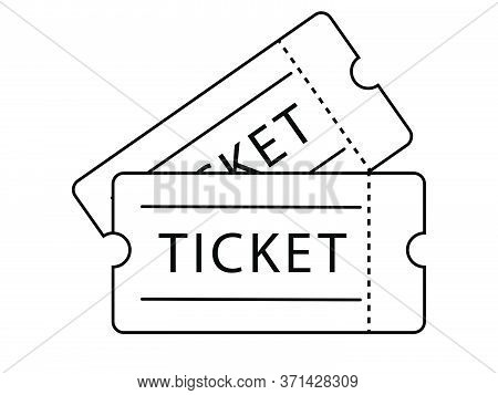 Double Ticket Admission. Black Outline Isolated On A White Background. Eps Vector