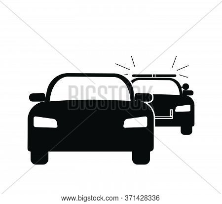 Car Getting Pulled Over Stopped By Police Cop Flashing Siren Lights. Black Illustration Isolated On