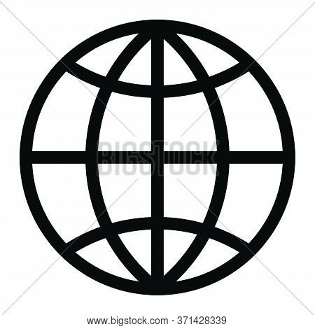 Globe Earth World Wire Frame Round Circular. Round Sphere Circular Black Illustration Isolated On A