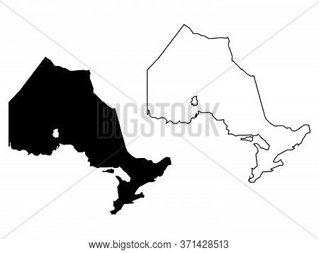 Ontario Province And Territory Of Canada. Black Illustration And Outline. Isolated On A White Backgr