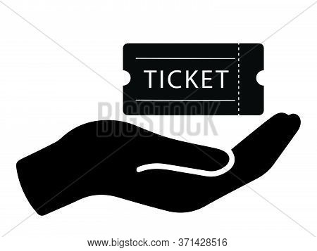 Open Palm Handing Out Giving Taking Receiving Collecting Admission Ticket. Black Illustration Isolat