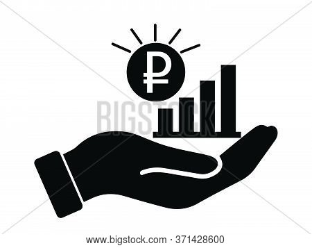 Hand Out Rub Russian Rubble Growth Bar Chart. Black Illustration Isolated On A White Background. Eps