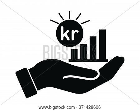 Palm Out Sek Swedish Krona Or Nok Norwegian Krone Growth Bar Chart. Black Illustration Isolated On A