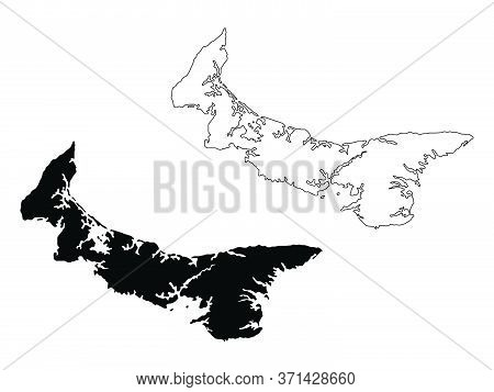 Prince Edward Island Province And Territory Of Canada Map. Black Illustration And Outline. Isolated