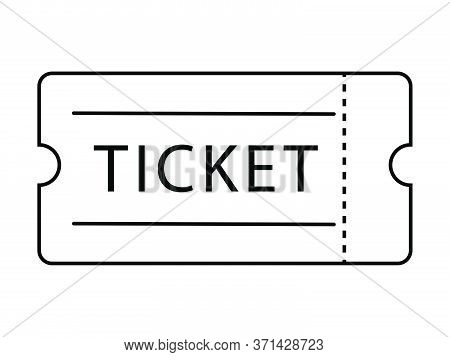 Single Ticket Admission. Black Outline Isolated On A White Background. Eps Vector