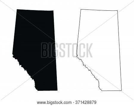 Alberta Province And Territory Of Canada Map. Black Illustration And Outline. Isolated On A White Ba