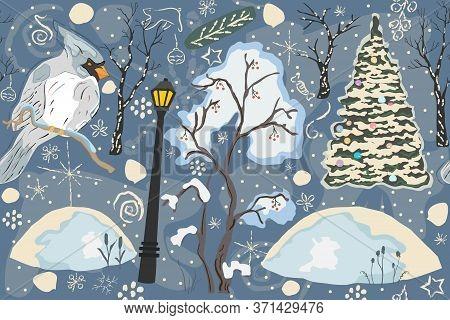 Sweet Winter Seamless Pattern With Cardinal Bird. Hand Drawn Scandinavian Style