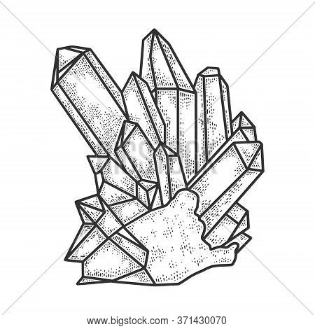 Crystal Sketch Engraving Vector Illustration. T-shirt Apparel Print Design. Scratch Board Imitation.