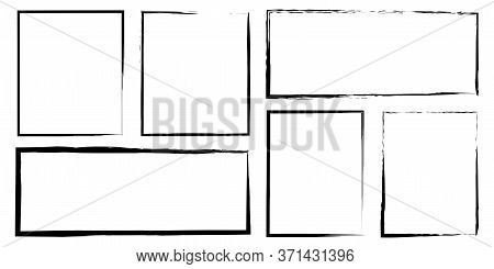 Hand-drawn Border Frame Vector. Black Brush-drawn Flat Rectangles. Rough Scratched Scribble Paint On
