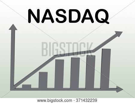 3d Illustration Of Nasdaq Above A Column Bar Graph, Isolated Over Green Gradient.