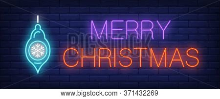 Merry Christmas Neon Text With Toy. Christmas Advertisement Design. Night Bright Neon Sign, Colorful