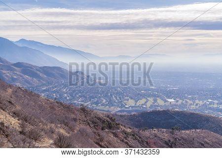 Hazy Overview Overlooking Salt Lake City, Utah