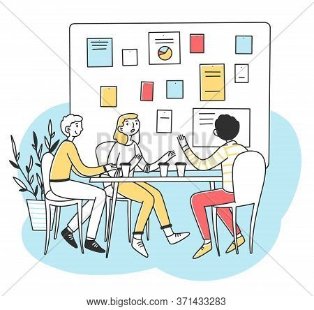 Young People Discussing Business Development Illustration. Office Employees Brainstorming And Lookin