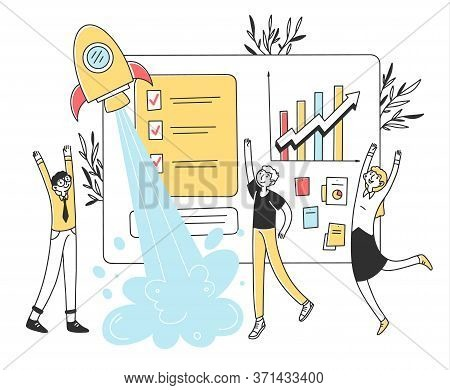 Business Team Launching Startup Flat Illustration. Employees Are Happy About Launch Of New Idea For