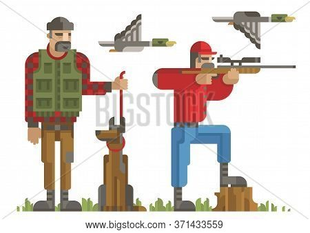 Set Of Hunters Silhouette In Different Poses With Weapon, Gun, Rifle, Dog, Duck. Modern Geometric Fl