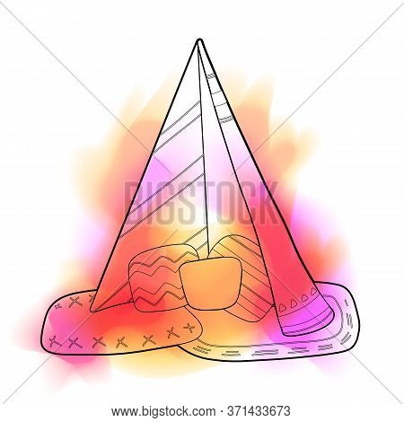 Outline Illustration Of Blanket House With Pillows And Color Stain. Stay Home. Game For Adults And C
