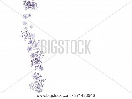 Xmas Theme Sale With Ultra Violet Snowflakes. Winter Frame For Flyer, Gift Card, Party Invite, Retai