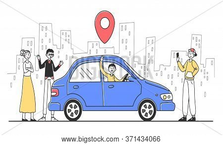 Car Sharing Service. People Searching Transport With Map Location Pin, Renting Vehicle. Illustration