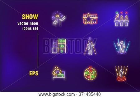 Tv Show Neon Signs Set. People, Talent Show, Lottery Drawing, Stage, Contest. Night Bright Advertisi