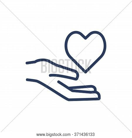 Heart On Palm Thin Line Icon. Health, Cardio, Life Isolated Outline Sign. Insurance And Protection C