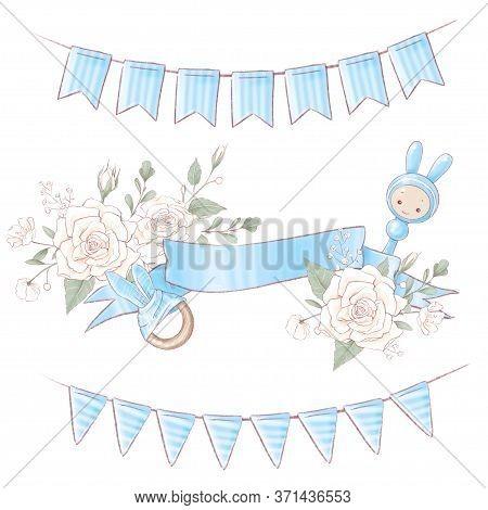 Bouquet Wreath Newborn Baby Shower Birthday. Hand Drawing