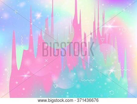 Universe Landscape With Holographic Cosmos And Abstract Future Background. Kawaii Mountain Silhouett