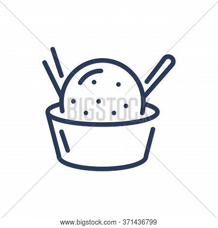 Sundae Bubble In Bowl Thin Line Icon. Summer, Spoon, Milk Isolated Outline Sign. Dessert And Ice Cre