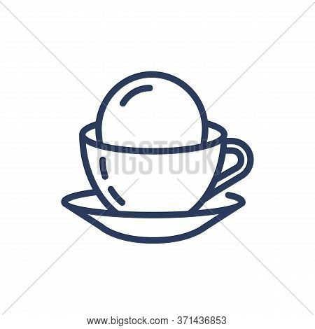 Coffee With Ice Cream In Cup Thin Line Icon. Sundae, Flavor, Plate Isolated Outline Sign. Dessert An