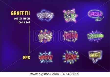 Graffiti Neon Signs Set. Wow, Hi, Cool, Pow Patches, Burst, Cloud, Speech Bubble, Communication. Nig
