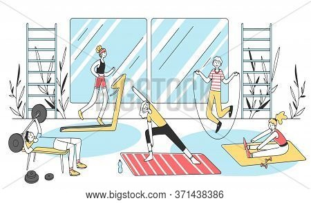 People Doing Fitness Exercises Flat Illustration. Cardio Training And Weight Lifting In Gym. Men And