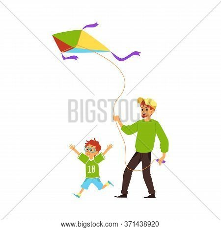 Father And Son Flying A Kite - Family Bonding Time Activity.
