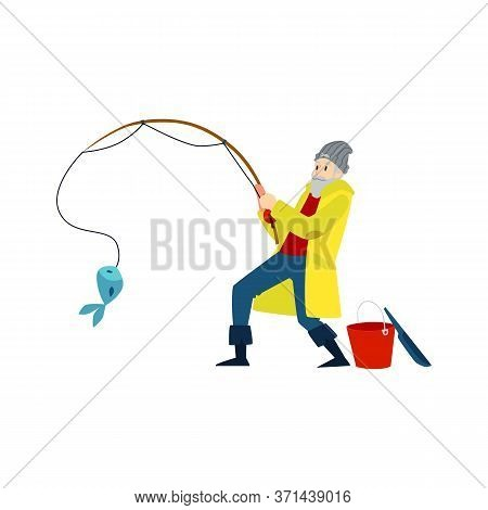 Black Silhouette Of A Male Fisherman, A Man Catches A Fish. Isolated Vector Illustration Of A Black
