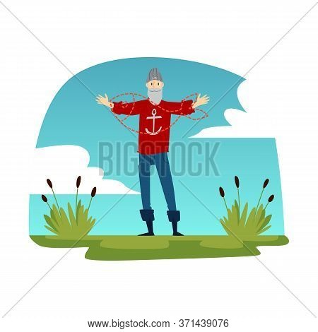 Old Fisherman Describing A Big Fish - Cartoon Hipster Fisherman With Red Sweater