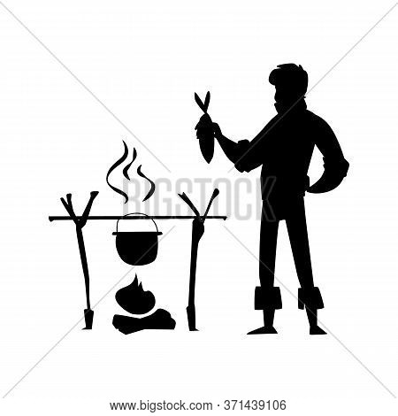 Cartoon Man Cooking Fish Stew On Bonfire - Black Isolated Silhouette.
