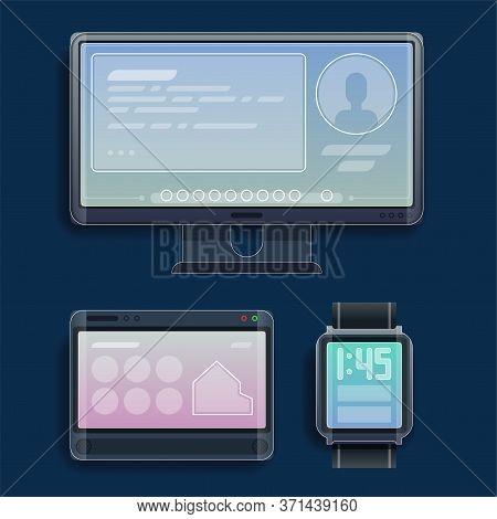 Modern Technology For Man, Gadjets. Smartphone, Smart Watch, Computer, Laptop, Tablet, Speaker, Webc